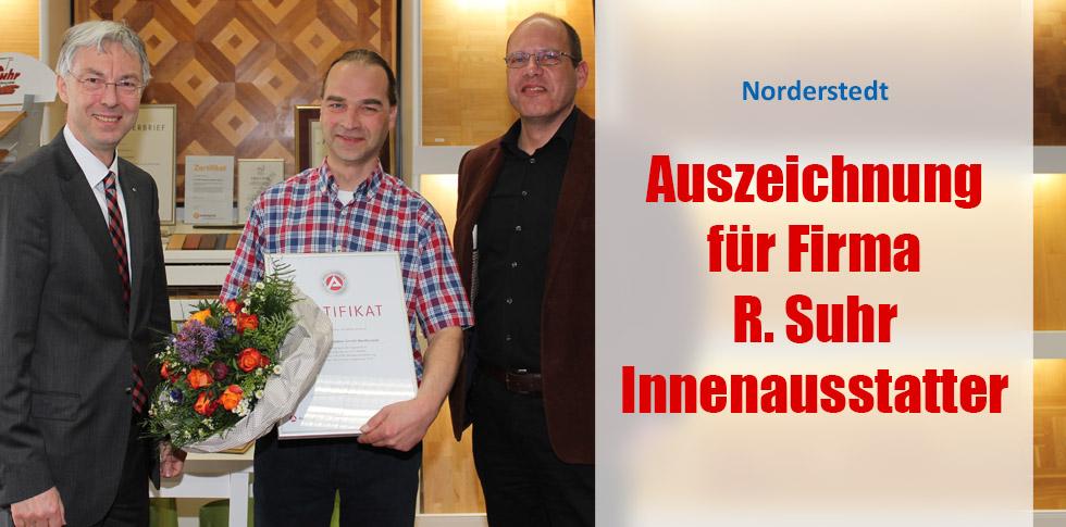 Auszeichnung für Firma R. Suhr Innenausstatter