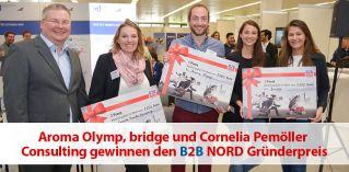 Aroma Olymp, bridge und Cornelia Pemöller Consulting gewinnen den B2B NORD Gründerpreis